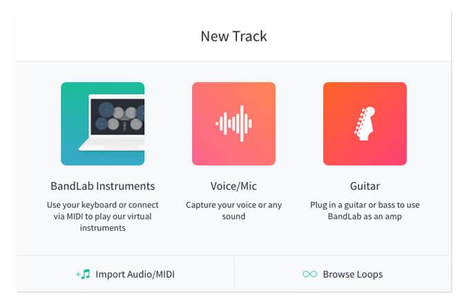 Add new track BandLab