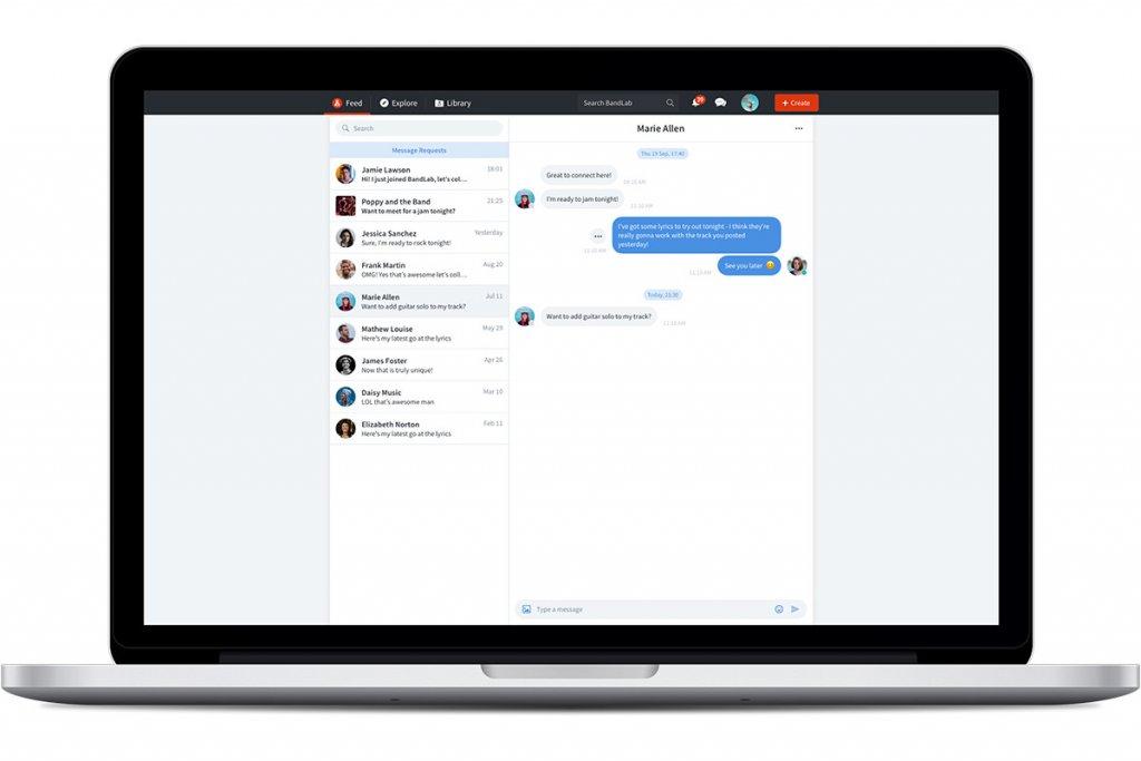 bandlab chat on desktop