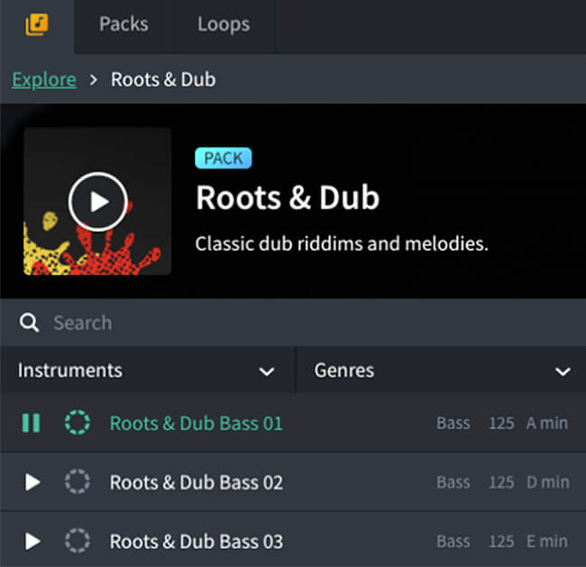 Roots & Dub Loop Pack on the Web Mix Editor.