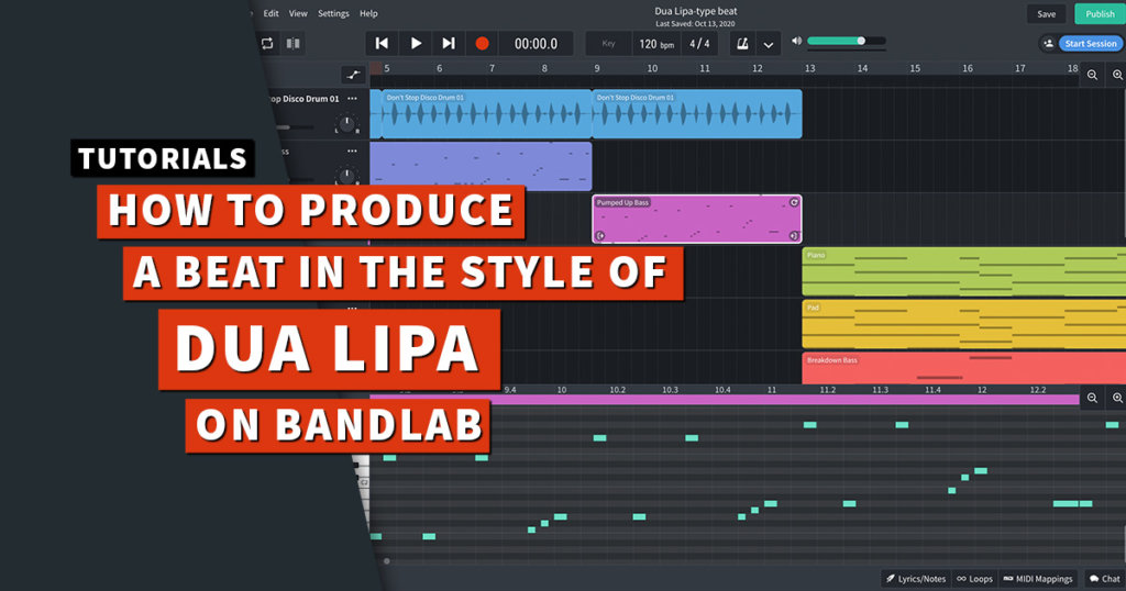 Dua Lipa type beat tutorial on BandLab