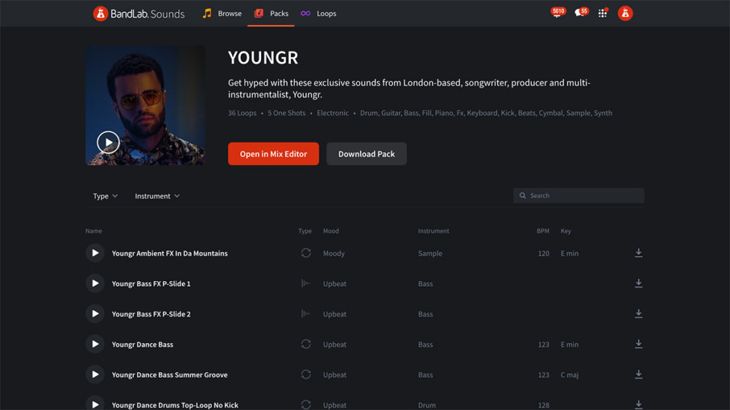 Youngr's Loop Pack on BandLab Sounds