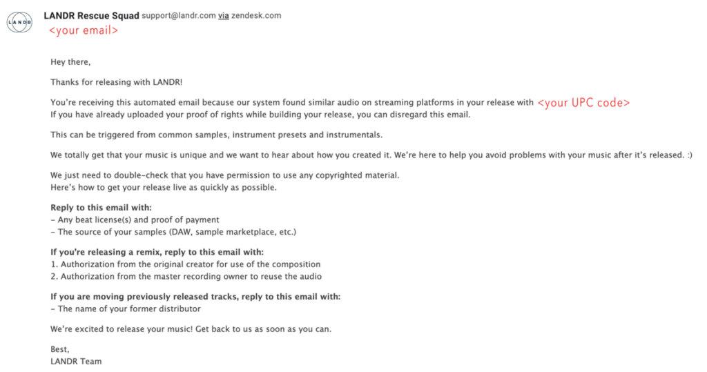 Landr copyright claim email