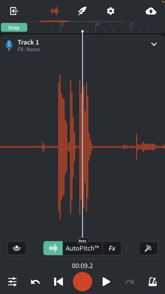 BandLab Mix Editor on mobile phone vocals recording.